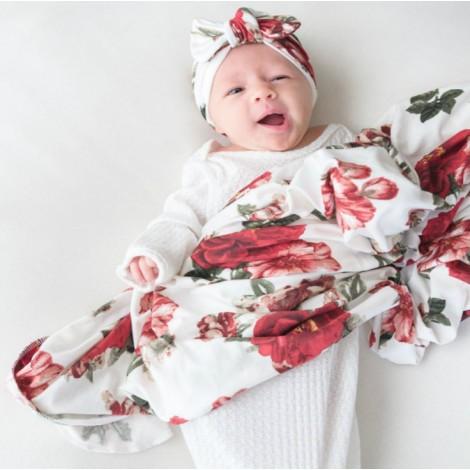 Adorable Baby Swaddle Blanket and Headband Set