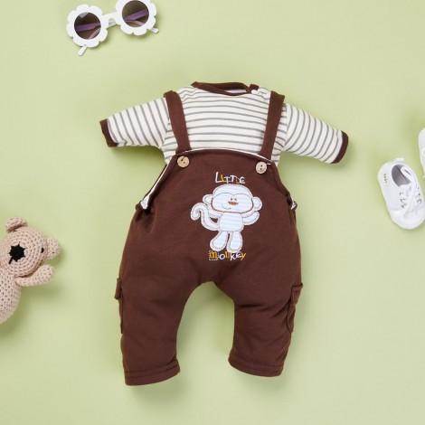 Brown Striped T Plus Brown Monkey Strap Skirt for 22'' reborn baby doll boy/girl