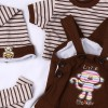 "Brown Outfits for 20""- 22"" Pure handmade  4 pieces sets Reborn Doll Girl Baby Clothing"