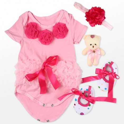 """Reborn Dolls Baby Clothes Pink Outfits for 20""""- 22"""" Reborn Doll Girl Baby Clothing sets"""