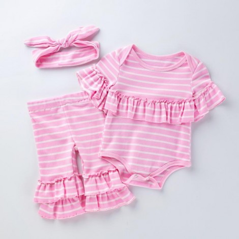 "Reborn Dolls Baby Clothes Outfit for 20""- 22"" Reborn Doll Girl Baby Clothing pink cotton 2 pieces"