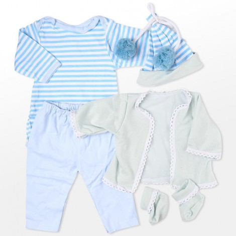 """Reborn Dolls Baby Clothes Blue Outfits for 20""""- 22"""" Reborn Doll Girl Baby Clothing 5 pieces sets"""