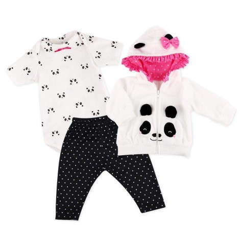 Reborn Baby Doll Clothes for 20''- 23'' Reborn Doll Girl Panda Outfit Accessories 4pcs Reborn Baby Matching Clothes