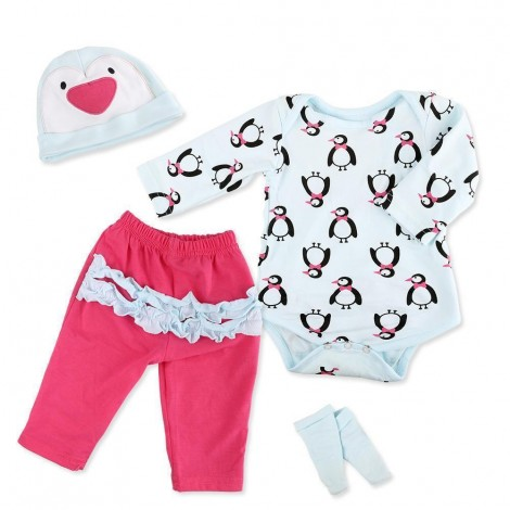 Reborn Baby Doll Clothes Outfit for 20''-24'' Reborns Newborn Babies Matching Clothing Penguin Set