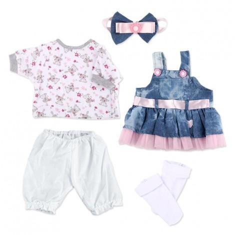 Reborn Baby Dolls Clothes Denim Dress Suit for 20''- 22'' Reborn Doll Girl Baby Clothing Baby Sets Reborn Dolls Matching Clothing 4 pcs Set