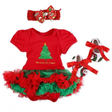 "Red Dress Four-Piece Set Gift For 20-24""Reborn Baby"