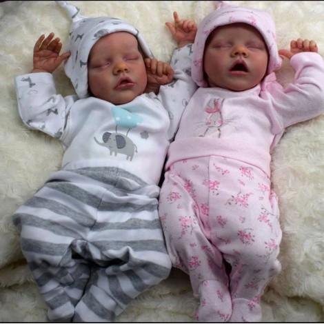17'' Lifelike Realistic Twins Sister Renata and Jayleen Reborn Baby Doll Girl