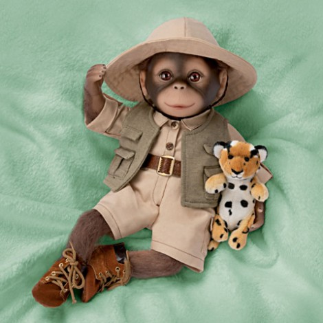 """Renner"" The Safari Monkey Doll,Lifelike Poseable Reborn doll"